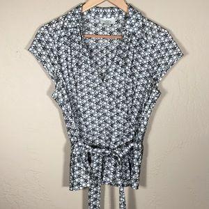 Ann Taylor Loft Petites belted faux wrap embroider